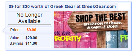 Too late for GreekGear.com